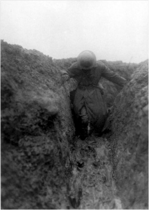 The Australian War Correspondent Charles Bean in one of the Gird system communication trenches on a good day (Australian War Memorial)
