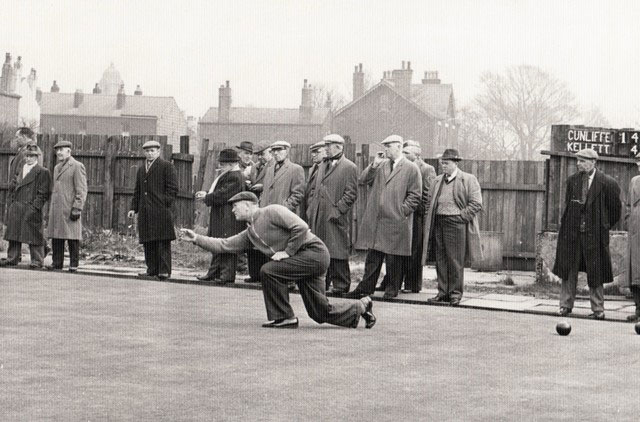 Jimmy Cunliffe bowls in a match against Ron Kellett