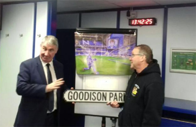 Stunned again by Kev's imaginative generosity as Mark Higgins unveils the painting.