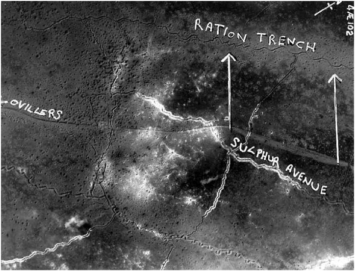 The area of the 9th Royal Fusiliers attack on Ration Trench from a contemporary aerial photograph (The Long Long Trail)