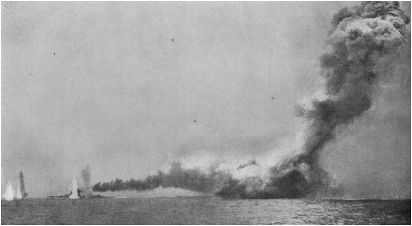 HMS Queen Mary exploding with the burning HMS Lion surrounded by shell splashes