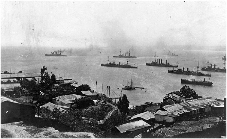 Scharnhorst and Gneisenau leaving Valparaiso harbour watched by the Chilean Navy on 3rd November 1914