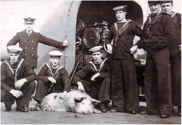 The crew of HMS Glasgow with Tirpitz the pig