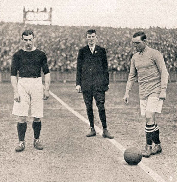 Jack Sharp against Barnsley in the 1910 FA Cup semi-final