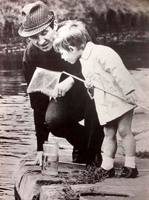Johnny Morrissey and John Jr fishing for tiddlers while Celia was in hospital