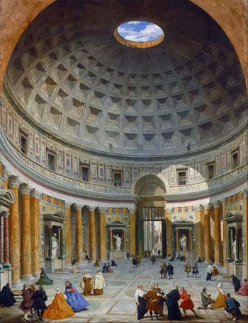 The Pantheon in Rome in the 18th Century painted by Giovanni Paulo Panini