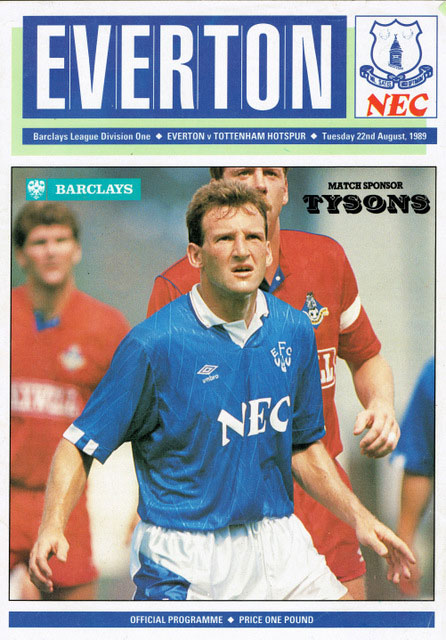 Dave Watson programme cover, August 1989